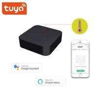 Tuya WiFi intelligent capteur de temperature et dhumidite integre a distance IR pour la climatisation TV  etc  fonctionne avec Alexa Google Home