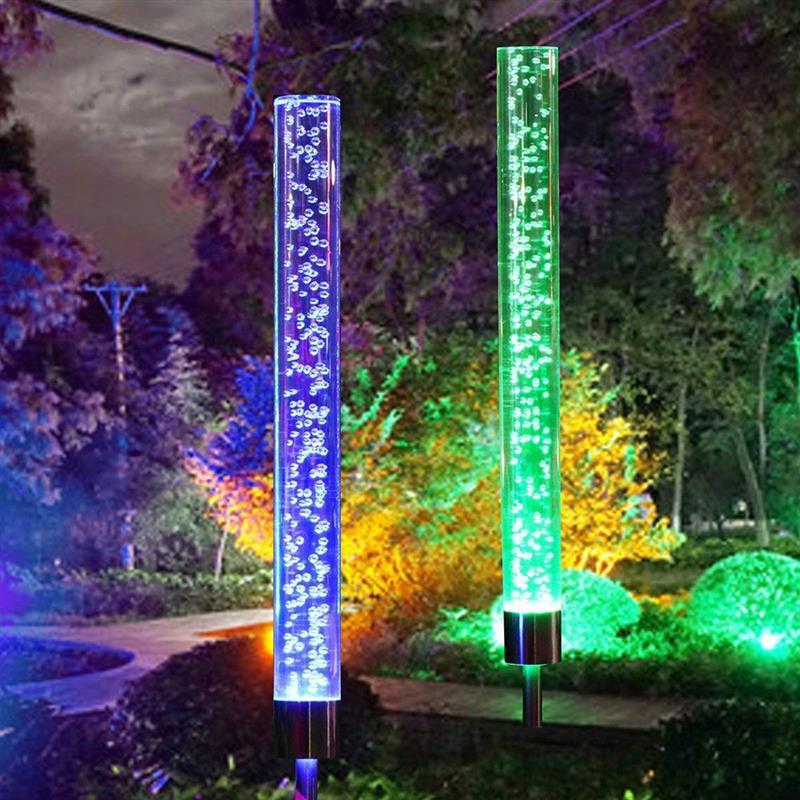 2 قطعة أنبوب الشمسية مصباح الفناء الخلفي حصة زينة في الهواء الطلق حديقة تغيير لون ل حديقة فناء الفناء الخلفي المسار الديكور