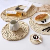 2pcs natural table mat handmade corn husk woven placemat round braided mat heat resistant hot insulation anti skidding pad