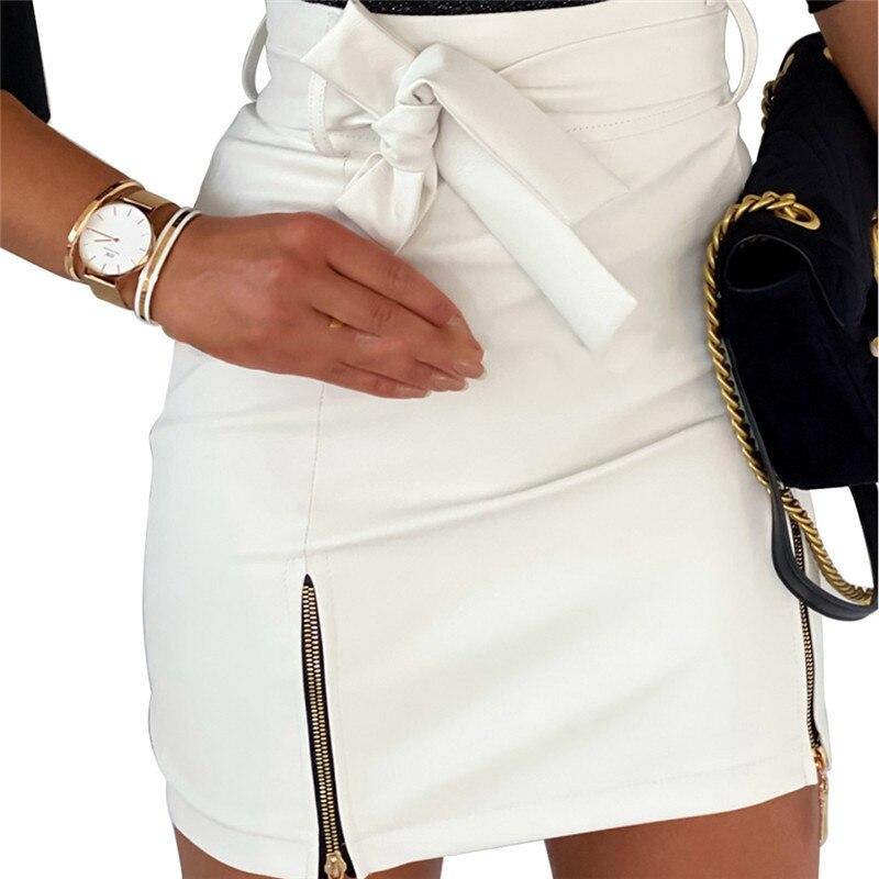 Cuero lápiz Street Club falda mujer Sexy negro de cintura alta ajustado cremallera falda de talla grande S-2XL