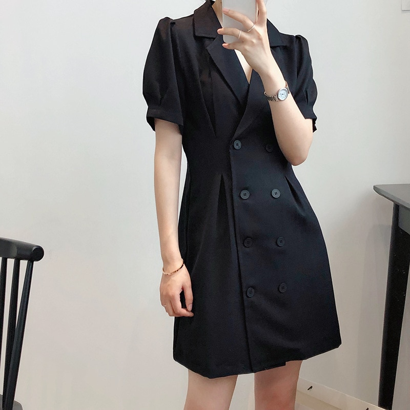 Double-Breasted  V-neck Suit Dress Summer Women Elegant Short Sleeve Ladies Casual Office Clothing Outerwear A-Line Mini
