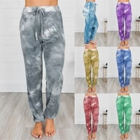 2021 summer trend fashion tie dye print pocket small foot lantern casual pants harajuku style female