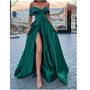 Green Prom Dresses A-line Off The Shoulder Slit Sexy Dubai Saudi Arabic Robe De Soiree Long Prom Gown Evening Dresses