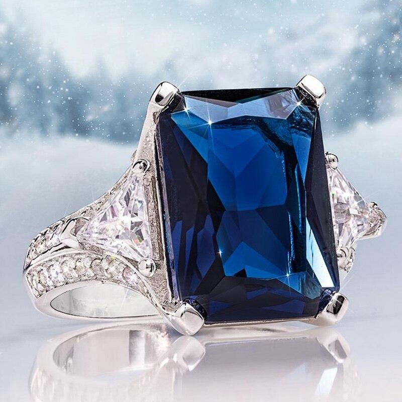 Anillo de mujer Huitan nuevo diseño precioso circonita azul profundo con circonita REDONDA/triangular CZ elegante anillo de boda para mujer anillo de regalo de lujo