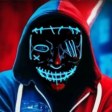 Scar One-eyed Glowing Mask Halloween Party Props LED Multicolor Glowing Mask Costumes Cosplay Decora