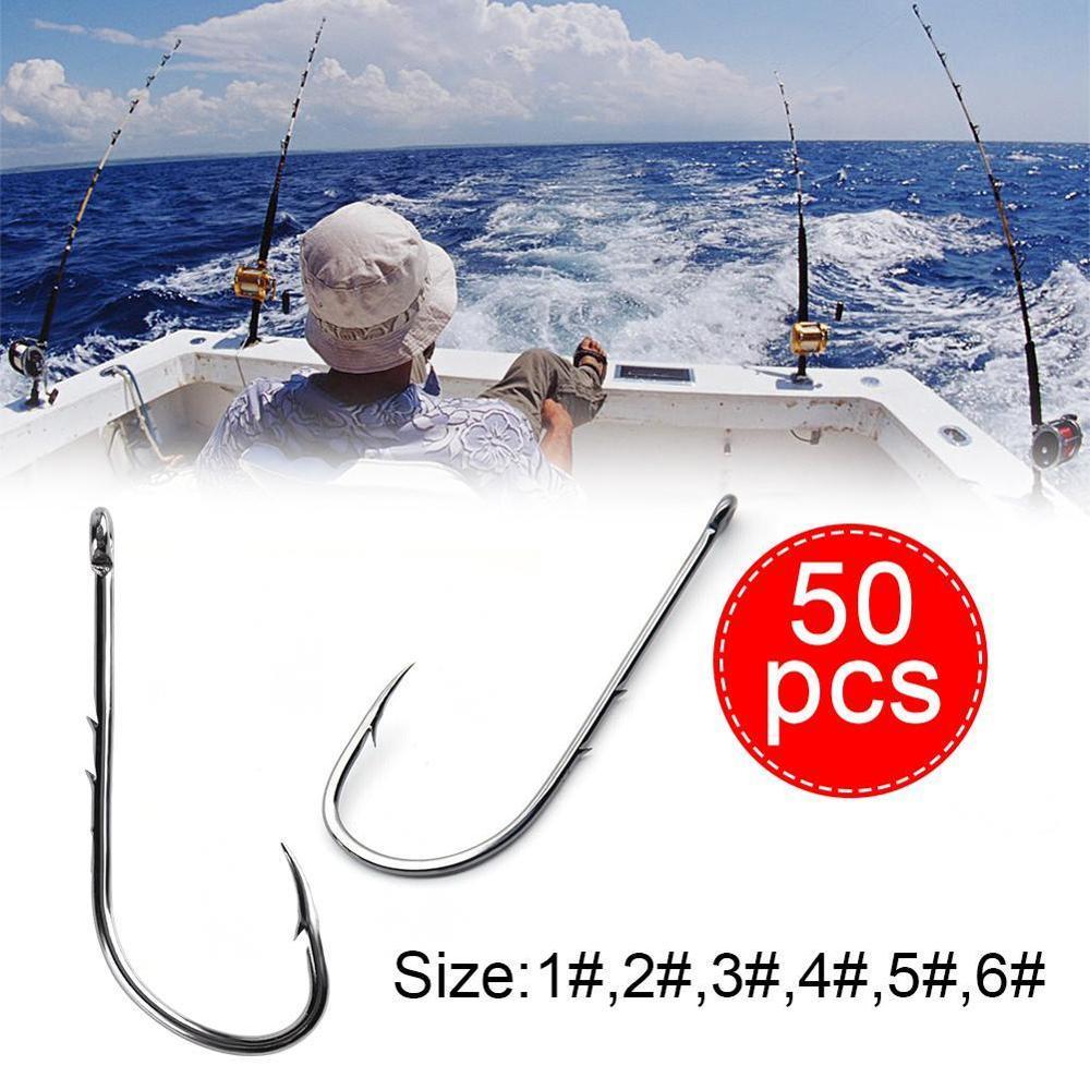 50 Uds doble tubo de anzuelo trasero sin anillo, mango largo, acero al carbono con púas rectas, anzuelo pesca marítima