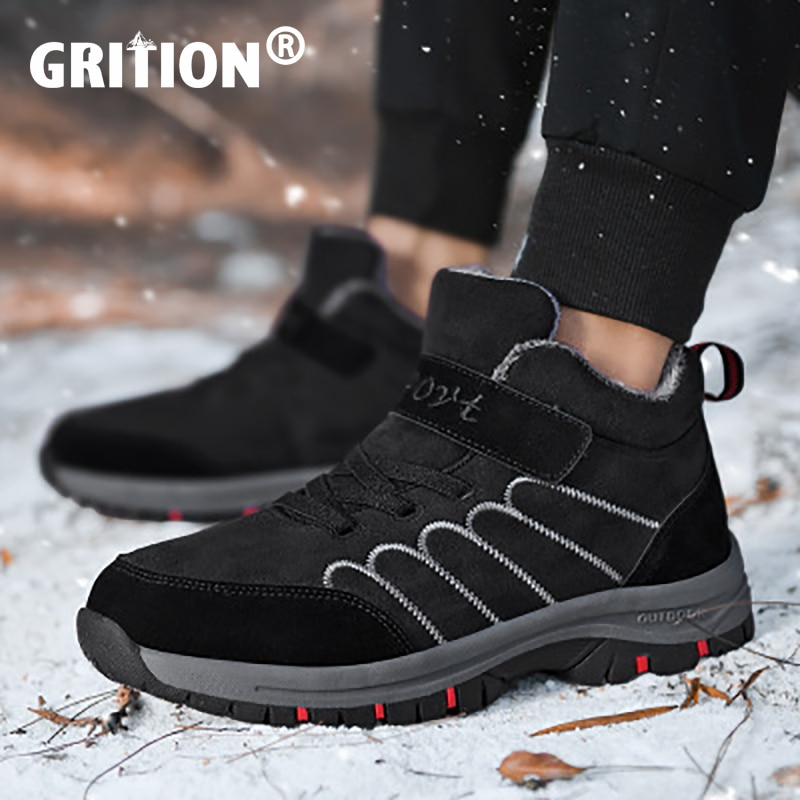 GRITION Mens Hiking Shoes Unisex Plush Winter Couple Non Slip Outdoor Walking High Snow Top Thick Bo