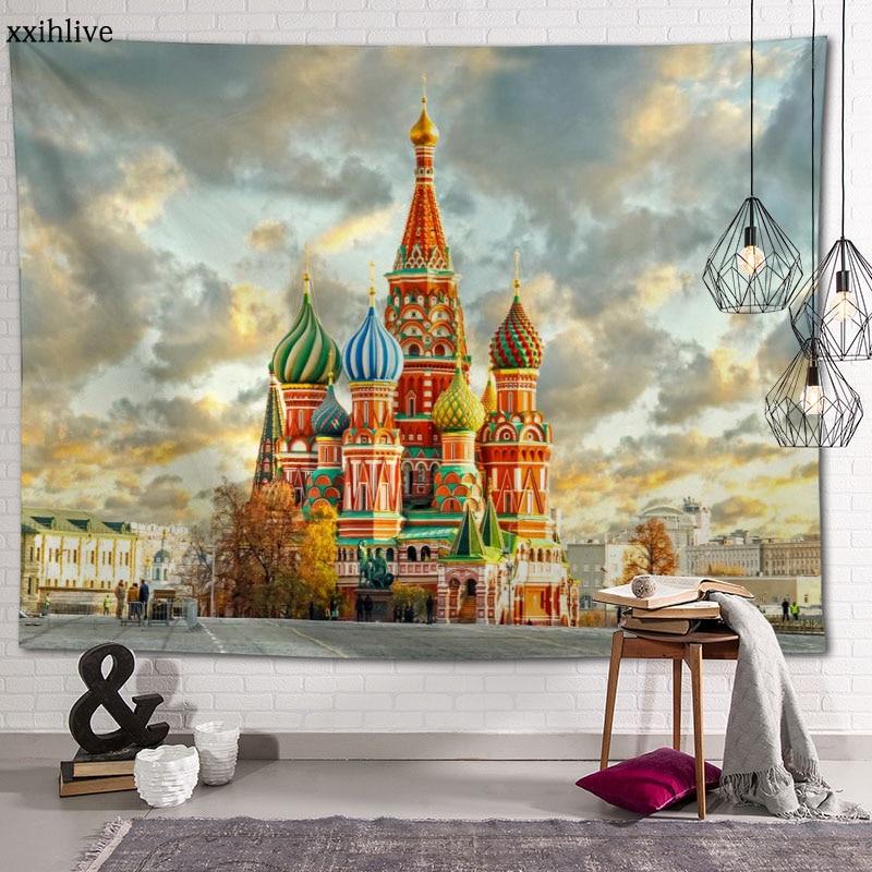 Гобелен под заказ с изображением московской архитектуры, большие настенные гобелены в стиле хиппи, настенное украшение в богемном стиле, ук...