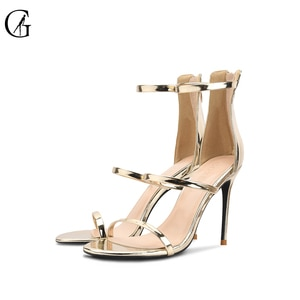 GOXEOU Women's Sandals Patent Leather Round Toe Thin Belt High Heels Party Sexy Fashion Office Lady Shoes Size 34-46