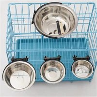 pet bowl can hang stationary dog cage bowls stainless steel dog cat hanging bowls durable puppy kitten feeder water food bowl