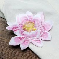 lotus cloth paste diy embroidery decoration buddhist plants clothes hole repair ironable 9 48cm handmade creative flowers patch