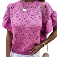 t shirt solid color knitted top women short ruffle sleeve hollow heart blouse for springsummer