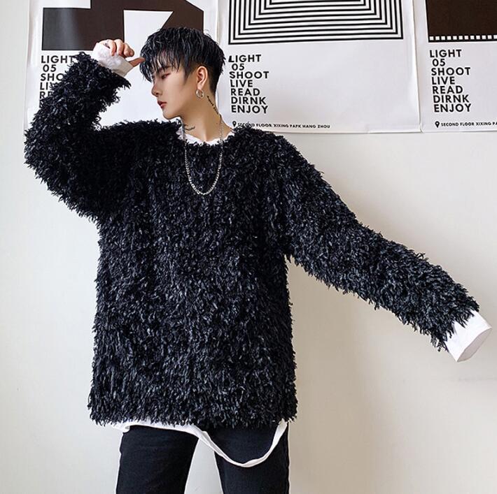 Camisa punk a la moda para hombres, camisa negra de malla con flecos de pelo jacquard de plumas de pavo real, camisa coreana para adolescentes, para hombre, etapa de personalidad B426