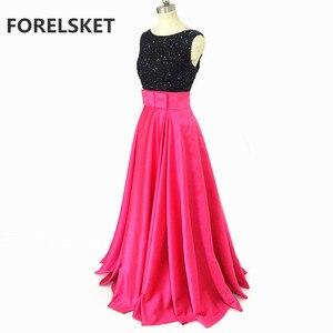Satin Backless Long Prom Dresses Hot Pink 2020 A Line Beading Evening Party Dresses For Women Abendkleider платье женское jurken