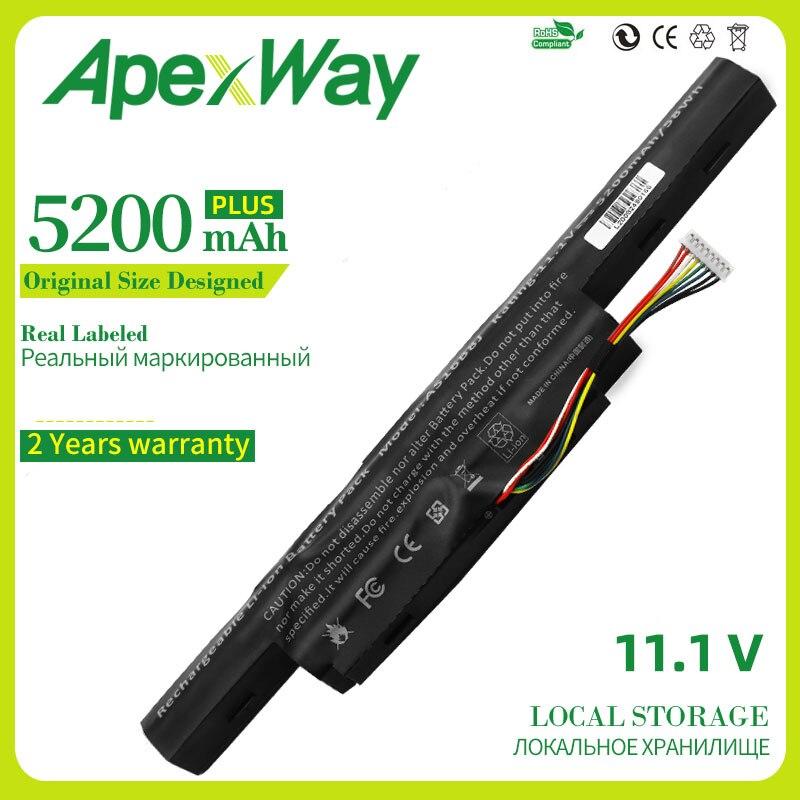 ApexWay 11,1 В 5200 мАч Новый AS16B5J AS16B8J Аккумулятор для ноутбука Acer Aspire E5-575G-53VG 3ICR19/66-2 бесплатно 2 года гарантии 6 ячеек