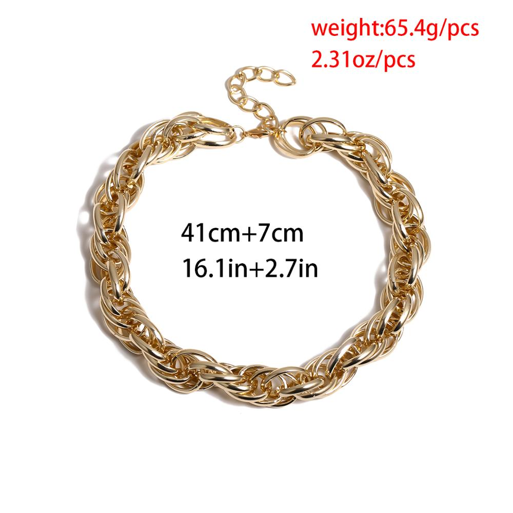 Купить с кэшбэком Punk Gothic Big Chunky Chain Choker Necklace Collar Accessories Steampunk Men Cuban Thick Twist Chain Necklace for Women Jewelry