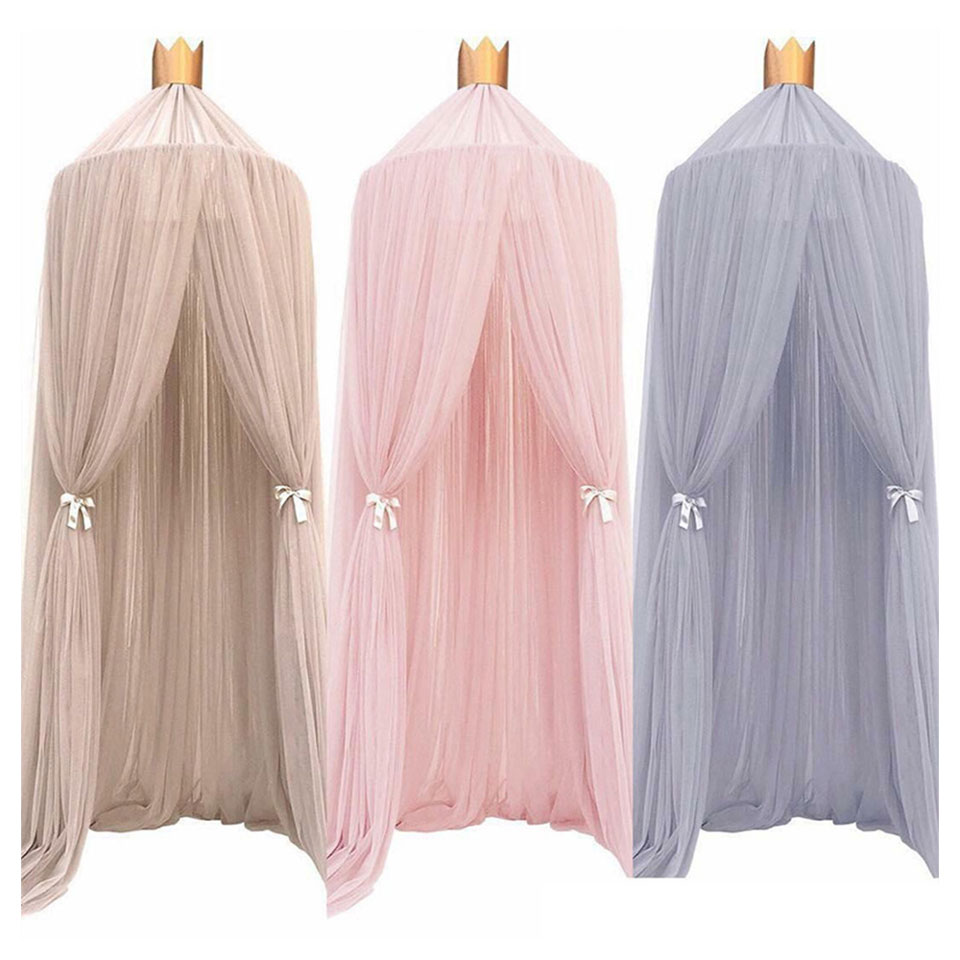 Mosquito Net with FREE Stars Hanging Tent Baby Bed Crib Canopy Tulle Curtains for Bedroom Play House Tent for Kids Room Decor