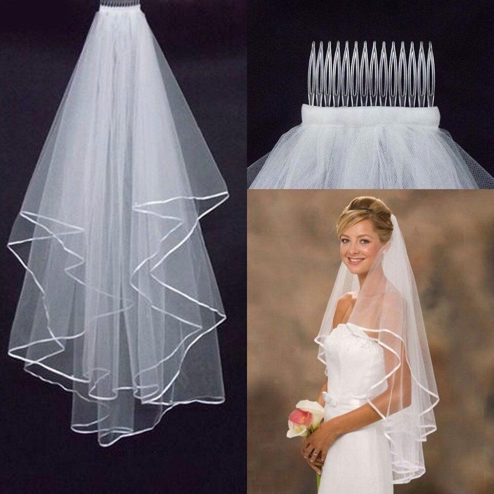 Boda Simple tul blanco marfil dos capas velo de novia borde cinta barato accesorios de novia 75cm corto mujeres velo peine