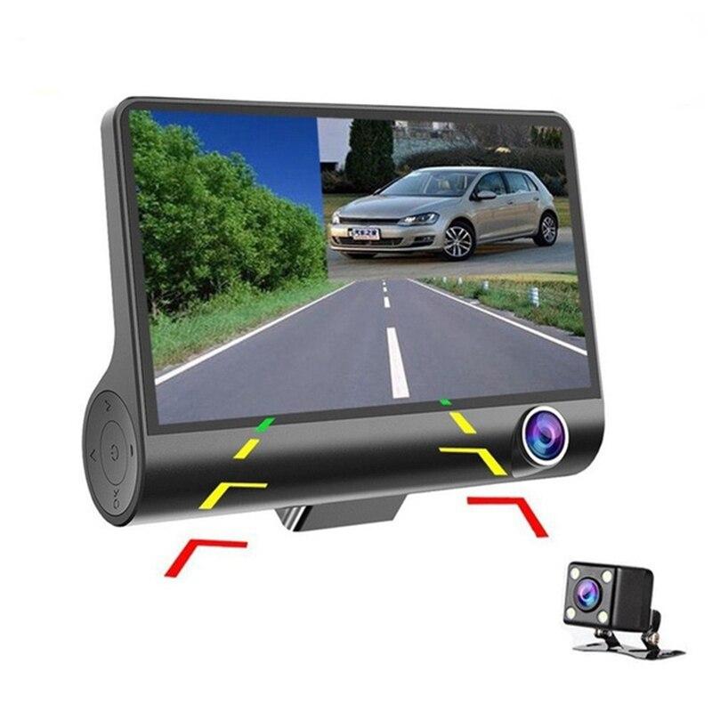 4-дюймовый три-линза дальнего света Регистраторы Видеорегистраторы для автомобилей 170 градусов 1080P высокой четкости вождения Регистраторы ...