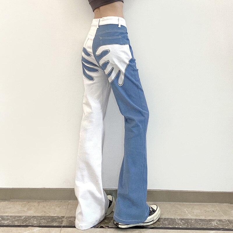 2021 جديد التباين بنطال ذو قصة أرجل واسعة شيك المرأة عالية الخصر مطبوعة الشارع الشهير الجينز حقيبة الأرداف الإناث أناقة البرية سليم بنطلون