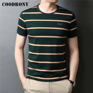 COODRONY Brand Summer New Arrival High Quality Soft Cotton Tee Top Striped Casual O-Neck Short Sleeve T Shirt Men Clothes C5289S