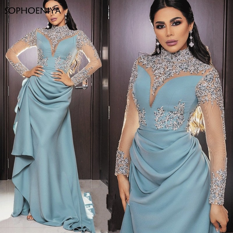 فستان سهرة جديد ذو رقبة عالية وأكمام طويلة مزين بكريستال مطرز بالخرز دبي فستان سهرة عربي مسلم مقاس كبير abendkleider 2021