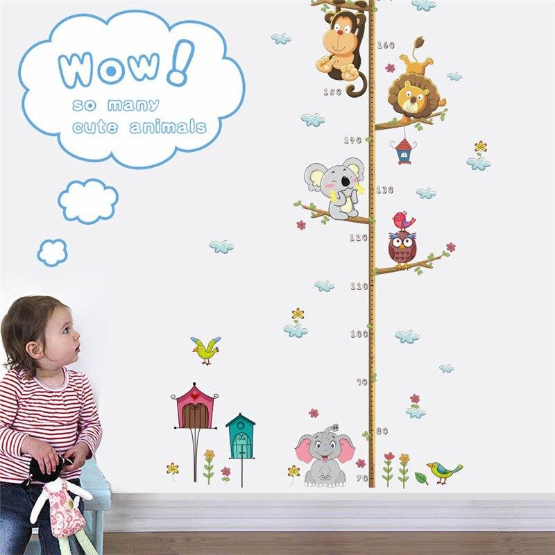 Piękne zwierzęta na gałęzi drzewa wykres wzrostu naklejki ścienne dekoracja pokoju dzieci wysokość środka Mural Art Diy naklejki domu