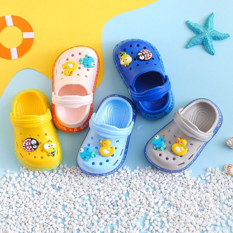 Hole Shoes Pattern Children 's Slippers for Men and Women Baby Girl Shoes Flat Shoes Print 2021 Summer New Animal
