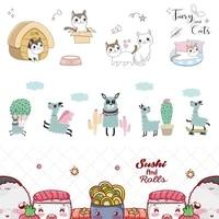 cartoon removable oil proof stickers cute cat alpaca kitcen wall sticker house decoration murals decor wallpaper dining poster