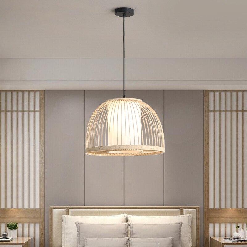 الخيزران قلادة ضوء الحديثة النمط الصيني E27 Hanglamp لغرفة النوم غرفة المعيشة غرفة الطعام لوفت ديكور قلادة LED أضواء تركيبات