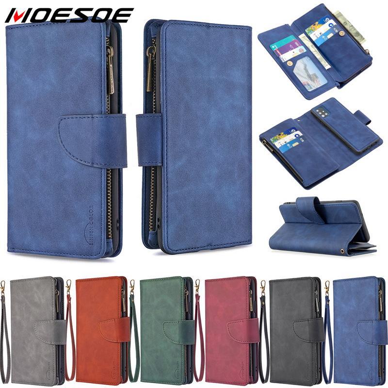 Étui portefeuille à rabat en cuir à fermeture éclair multi-fentes pour Samsung Galaxy A51 A71 S20 Ultra S10 Plus Note 010 Lite A50 A70 A30 A31 A41