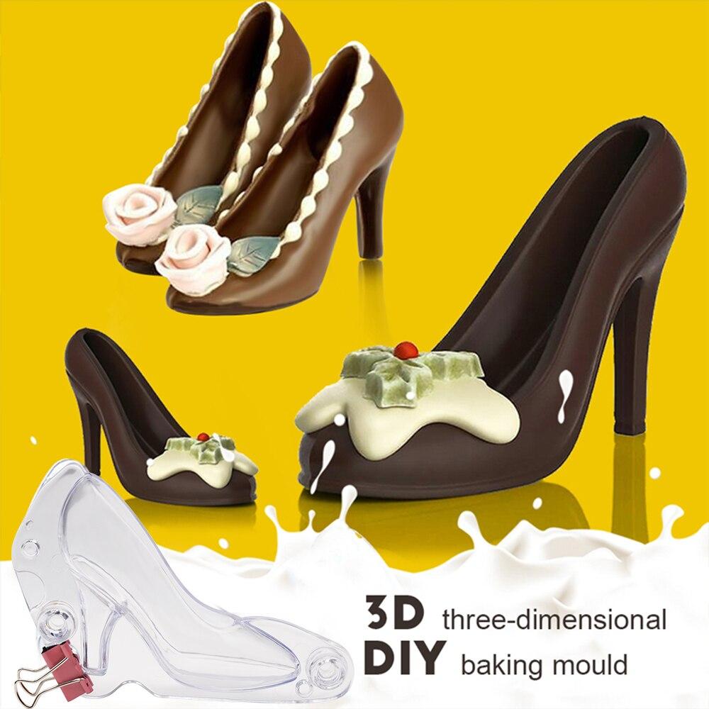 Molde de PVC 3D con forma de zapato de tacón alto, molde de pasta de azúcar para dulces, herramientas de decoración de tartas DIY, molde de Chocolate 3D, herramientas para hornear