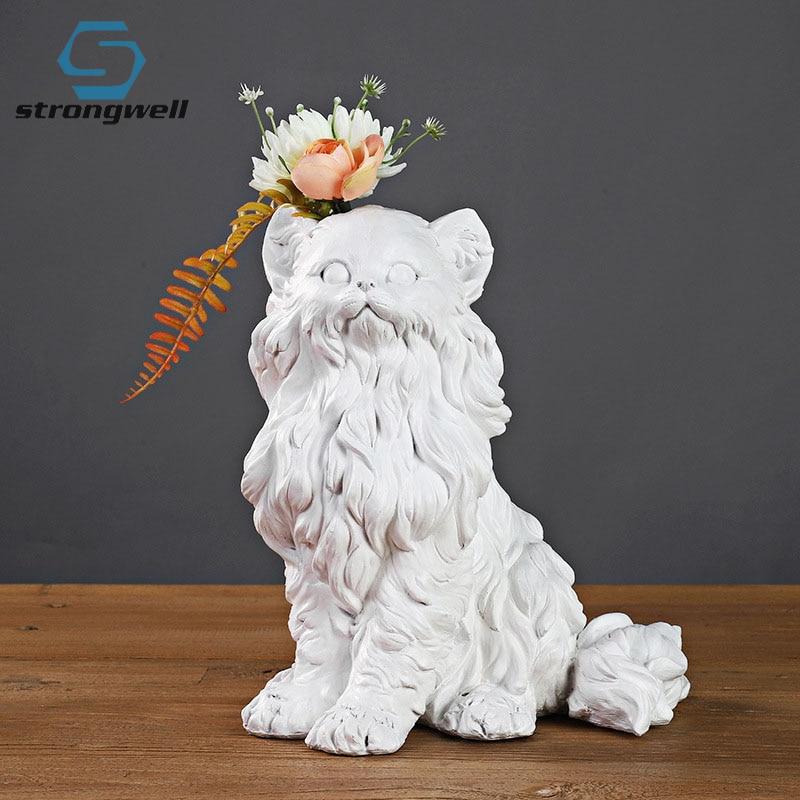 Arranjo de Flores Strongwell Design Moderno Gesso Estátua Cão Modelo Sala Estar Decoração Ornamentos Artware Presente Natal