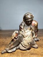 7tibet buddhism temple old bronze cinnabars liu hai plays jin chan zhaocai town house decoration enshrine the buddha