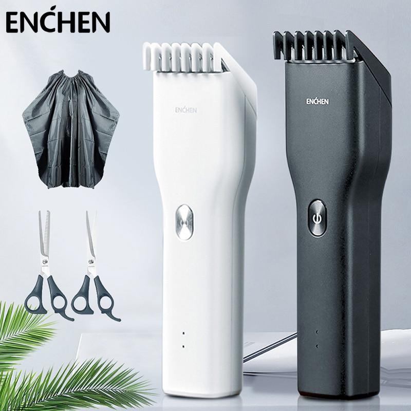 ENCHEN-cortadora de pelo eléctrica para hombres, Kit Profesional de cerámica, dos velocidades,...