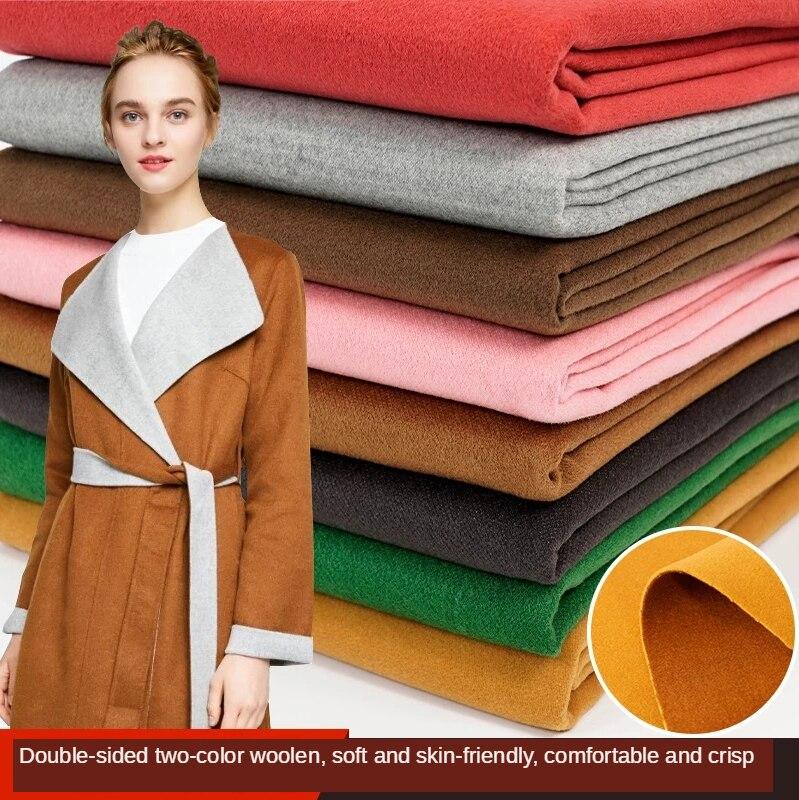 Двусторонняя Толстая кашемировая флисовая ткань, однотонное пальто из искусственной шерсти, парча для шитья, черный цвет