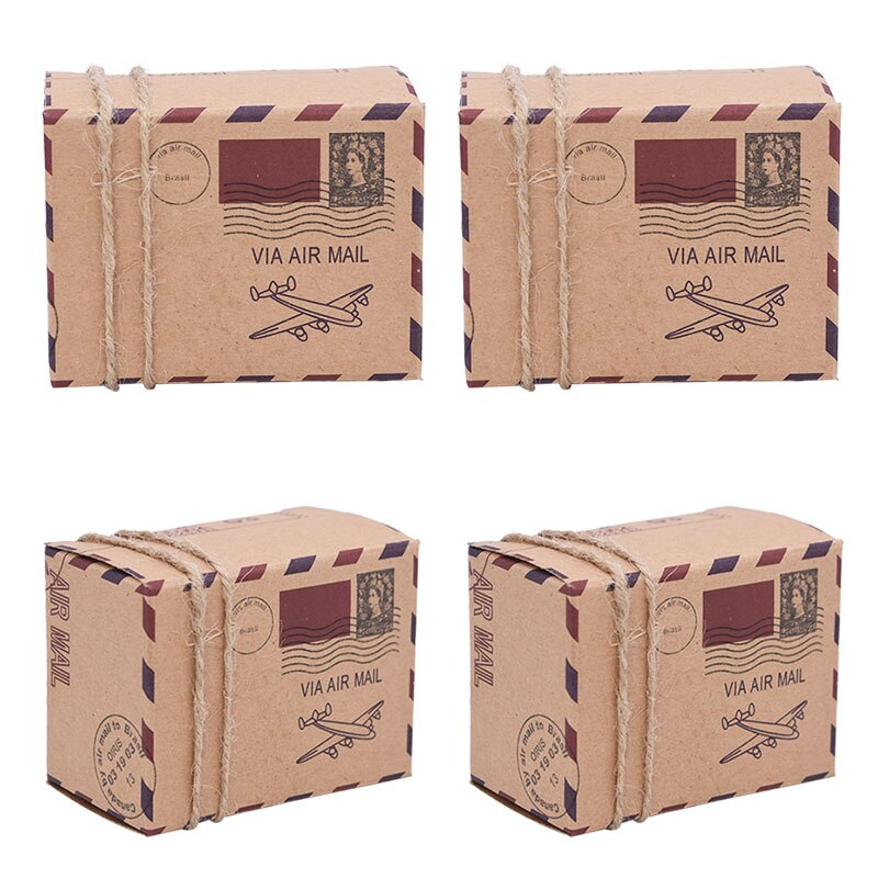 10/20/30Pcs Aircraft Shape Kraft Paper Candy Box Theme Travel Candy Box Airplane Gift Box For Wedding Birthday Party Favor Boxes