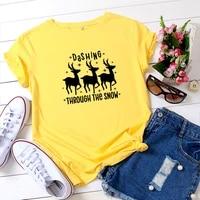 summer womens t shirt multicolor womens clothes christmas deer print oversized t shirt o neck short sleeve t shirt women tops