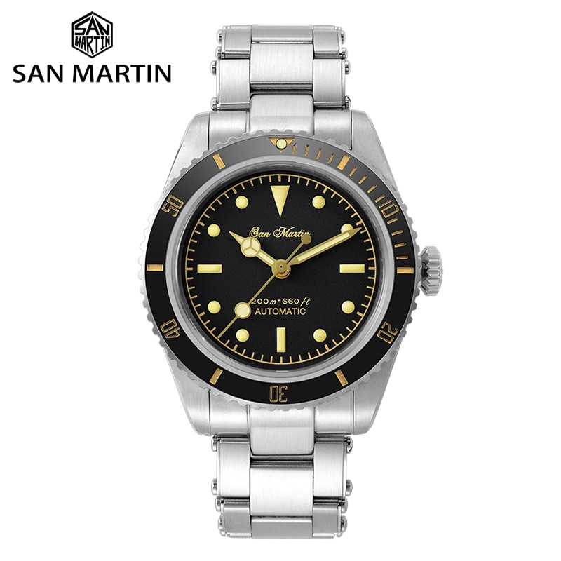 San Martin Diver Watch 6200 Retro Water Ghost Luxury Sapphire NH35 Men Automatic Mechanical Watches