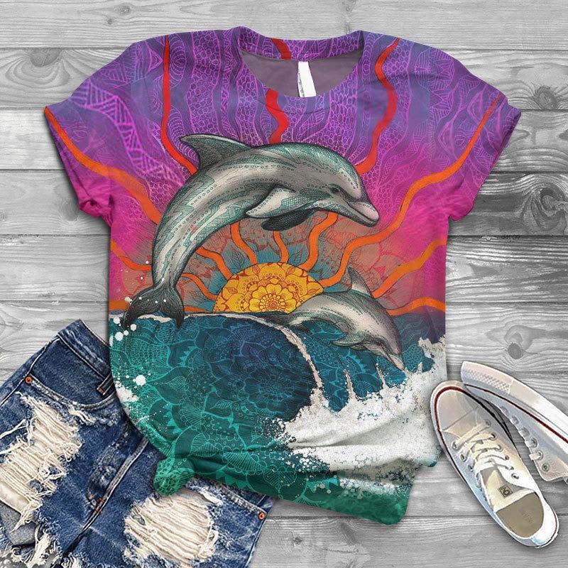 Fashion Women T-shirts Short Sleeve 3D Cetacean Animal Printed Harajuku High Street O-neck T-shirt Top Women Tshirts  - buy with discount