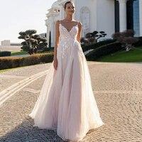 eightree elegant pink wedding dresses beach boho spaghetti straps bride dress vestido lace appliques wedding gowns