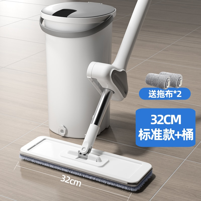 Hand Washing Mop Wet Dry Magic Bucket Microfibre Wash Dry Ultraclean Aluminium Spin Mop Wood Floor Mop Parowy Home Cleaning DG40 enlarge