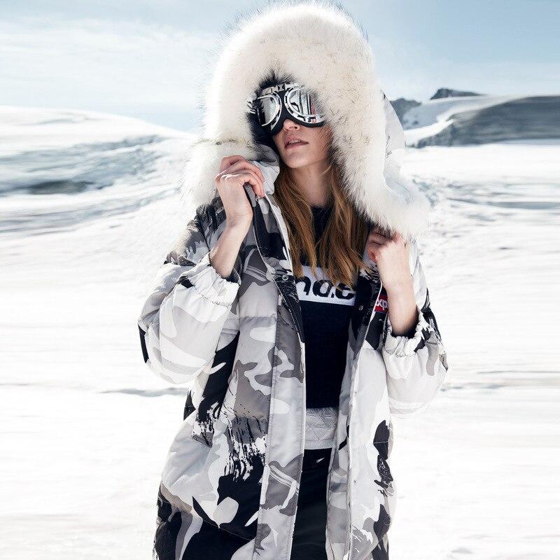 Chaqueta de plumón de ganso BOSIDENG 90% parka larga gruesa 17cm cuello de piel natural camuflaje impermeable a prueba de viento abrigo abajo B80142144