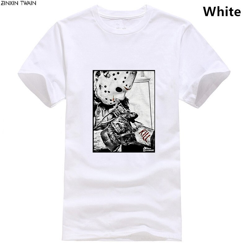 Camiseta E1SYNDICATE, JASON VOORHEES, máquina de tinta KILL FRIDAY 13 HORROR DVD 4143, camiseta de novedad, de gran tamaño, informal