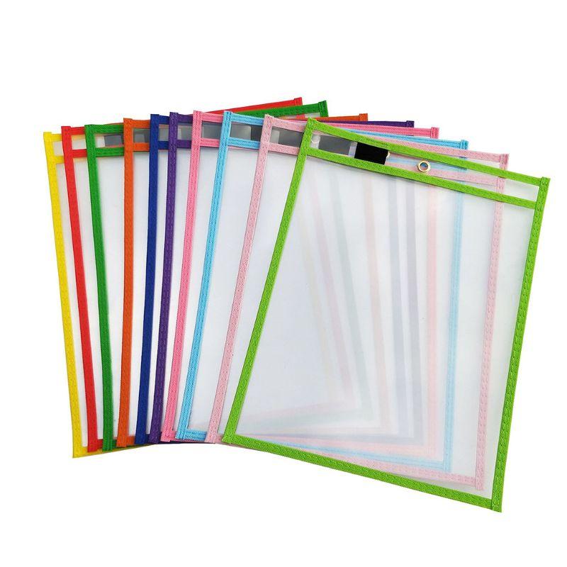 10 pces seco apagar arquivo pasta saco de documento para reutilizável escrever e limpar sacos para material de escritório e escola Pasta de arquivo    -