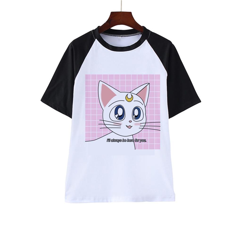 Kawaii Sailor Moon camiseta de mujer Harajuku Ullzang verano camiseta Vintage Linda camiseta japonesa Anime Tops mujeres 2020 camisas