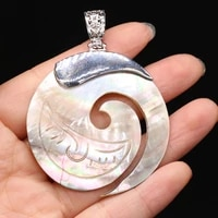 1pcs natural round shell pendants charms for earring necklace jewelry making for women fashion party gift size 45x45mm 50x50mm