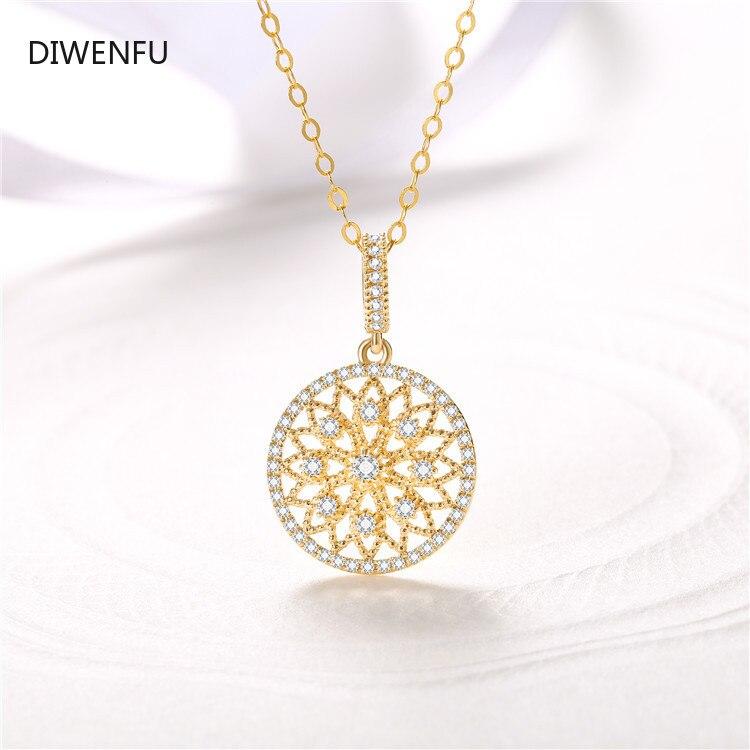 18K Yellow Soild Gold Necklace Pendant for Women Natural Diamond Pierscionki Bijoux Femme Chain Naszyjnik Jewelry