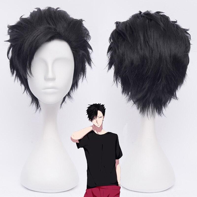 Tee Tetsurou Kuroo Cosplay negro corto peluca Nekoma de Tetsurou peluca con tapa de voleibol intrigante capitán pelo sintético