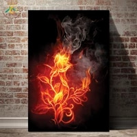 black burning fire flower printed painting wall art home decorative prints and posters canvas painting for living room